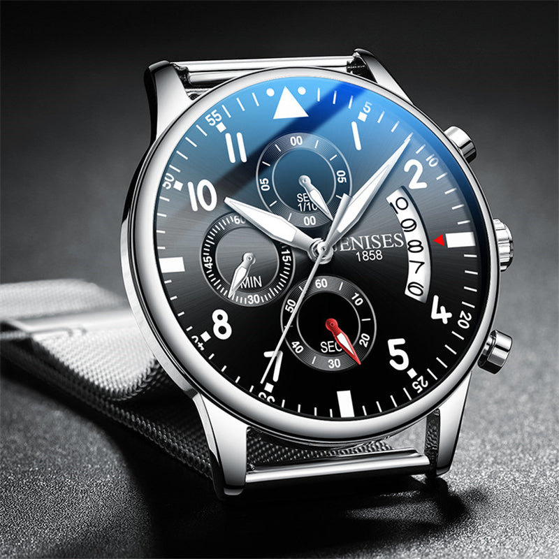 Full Black Steel Quartz Men Watch Top Brand Luxury Fashion Pilot Chronograph Waterproof Analog Wrist Watch Relogio Masculino