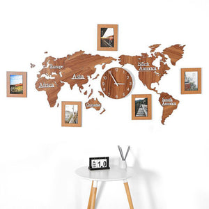 Creative World Map Wall Clock Wall Stickers with Photo Frame Large Wood Wall Clock Modern European Round Mute relogio de parede