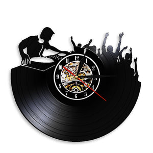 Night Club Music Festival DJ Booth Stage Turn Tables Night Club Wall Decor Wall Clock Disco Dance Party Vinyl Record Wall Clock