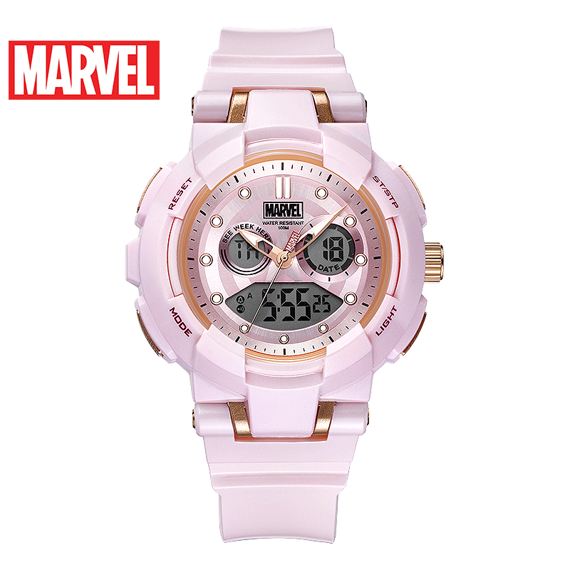100M Waterproof Ladies Marvel Avengers Sport Fashion Watch Dual-display Rubber Multifunction Luminous Women Clock Girl Gift Hour