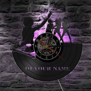 Custom DJ Name Vinyl LP Record Wall Clock Disco Pub Club Music Party Dance Hall Decor Wall Light Personalized Gift for DJ Girls