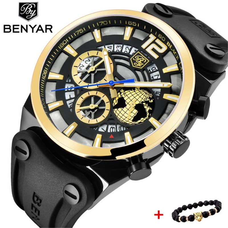 BENYAR 2019 Top Brand Chronograph Men's Luxury Silicone Quartz Men Watches Stainless Steel Sports Watch Clock Relogio Masculino