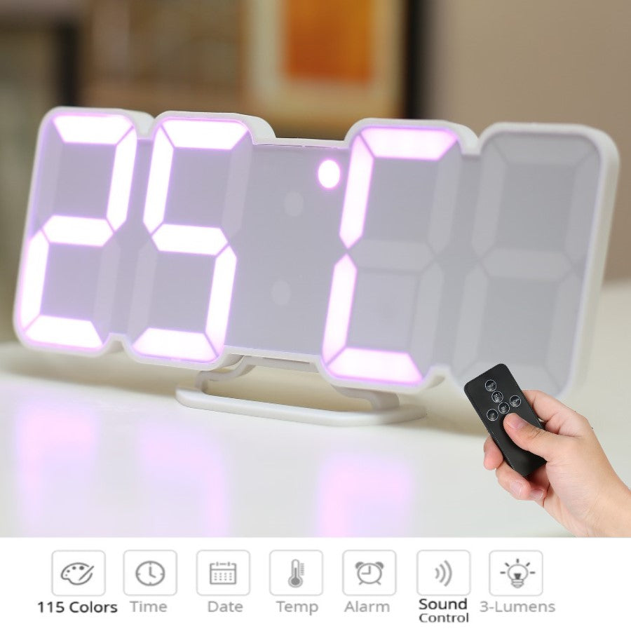 Creative Remote Control 3D Digital LED Wall Clock With 115 Colors Change Night Light Magic Desktop Table Clock Wall Decorative