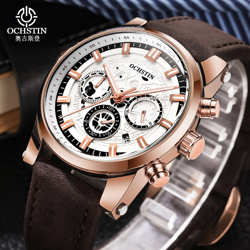 OCHSTIN luxury Brand Classic Watch Men 2019 Fashion Sport Chronograph Waterproof Gold Quartz Pilot Wristwatches Clock relogios