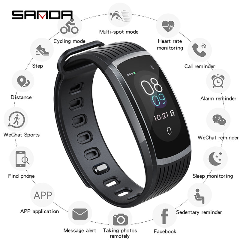 SANDA A18 Outdoor Sports Watches Men/Women/Couple Digital Watch Heart Rate Monitor Smart Reminder Exercise Fitness Wristwatch