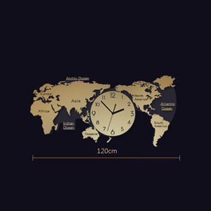 LUMINOVA Nordic simple wall clock acrylic creative Fashion world map clock for living room decoration silent wall clocks decor