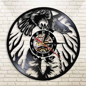 Eagle Bird Wall Clock Animals Soaring Bald Eagle Vinyl LP Record Watch Bird of Prey Eagle Dignity in the Sky Vintage Lamp Saat