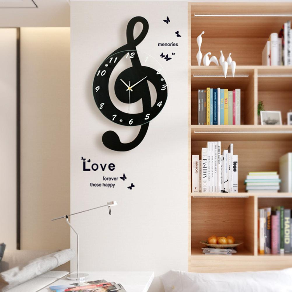New 3D G-Clef Music Note Wall Clock Modern Minimalist Wall Clock Quartz Movement for Bedroom Living Room Personality Decoration