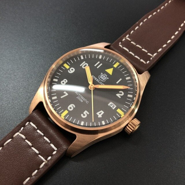 200M Waterproof Dive Men Watches Automatic Mechanical Sapphire Crystal Leather Germany CUSN8 Bronze Pilot Watch Mechanical Man