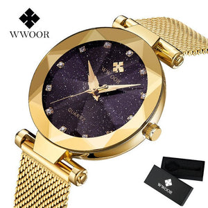Fashion Gold Women Watches Ultra thin Quartz Watch Rhinestone Dress Ladies Watch Montre Femme 2019 Unique gift Steel Band Mesh