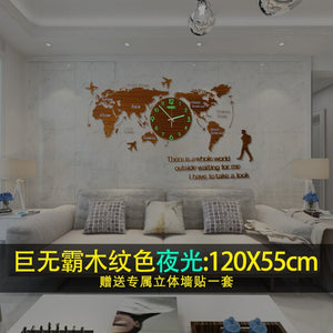 Creative World Map Large Wall Clock Modern Acrylic 3d Clocks Wall Home Decor Living Room Silent Wall Watch Mechanism Saat FZ592