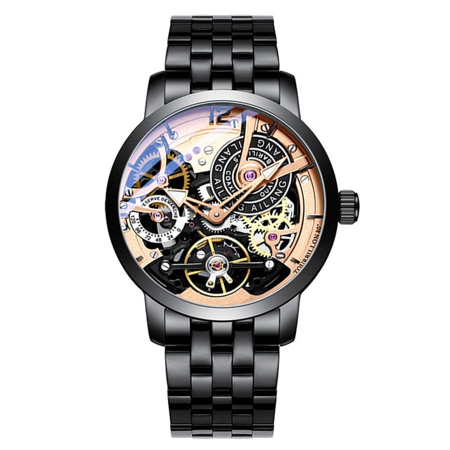 AILANG Original design watch automatic tourbillon wrist watches men montre homme mechanical Leather pilot diver Skeleton 2019
