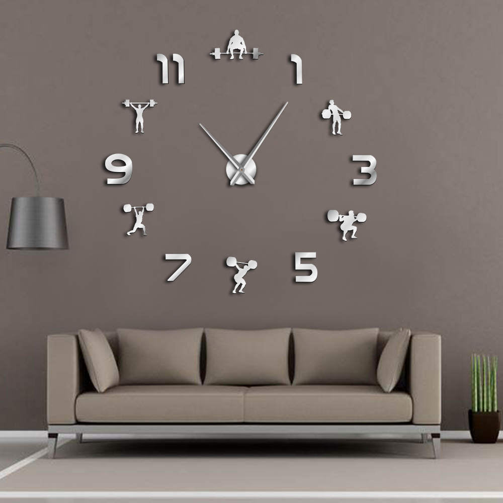 Weightlifting Fitness Room Wall Decor DIY Giant Wall Clock Mirror Effect Powerlifting Frameless Large Wall Clock GYM Wall Watch