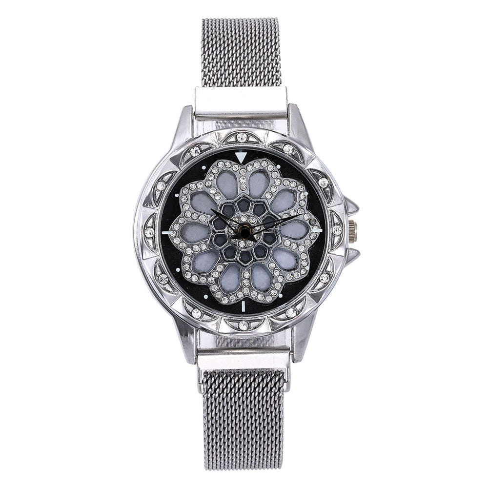 Women Watch Mesh Magnet 360 Degree Rotating Dial Ladies Watch Luxury Fashion Diamond Quartz Watch for Women Clock Relogio Femino