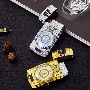 Unusual Gold Watch Jet Torch Lighter Turbo Inflated Butane Gas Lighter Windproof Cigar Cigarette Metal Lighter Gadgets For Men