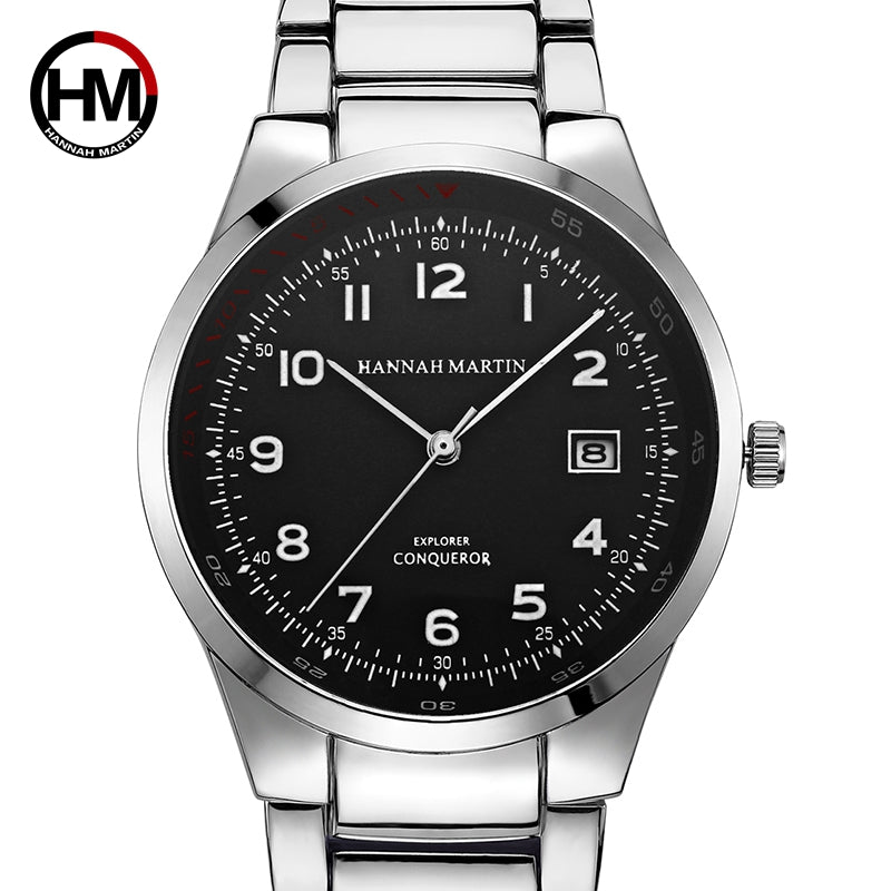 Men Top Luxury Brand Sports Wristwatch Calendar Display Silver Pilot Watch Business Waterproof Creative Watch Relogio Masculino