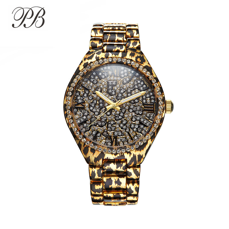 PB Watch Women Black Leopard Print Ladies White Crystal Watches Unique Leopard Chain Strap Quartz Fashion Relogio Feminino