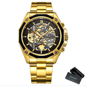 FORSINING Golden Top Brand Luxury Auto Mechanical Watch Men Stainless Steel Strap Skeleton Dial Fashion Business Wristwatches