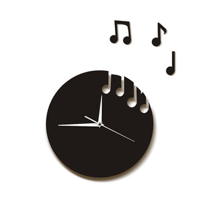 Floating Music Notes Wall Art Musical Notes Flew From The Clock Sheet Music Modern Wall Clock Musicians Rock n Roll Crafty Gift