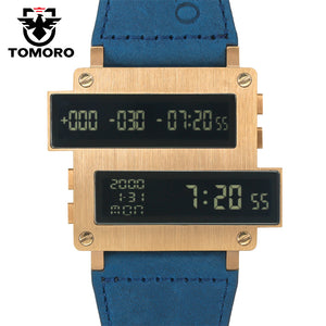 TOMORO 2018 New Original Design Top Men Countdown Hours LED Clock  Large Oversize 316 STEEL Cow Leather Unusual Limited Watches