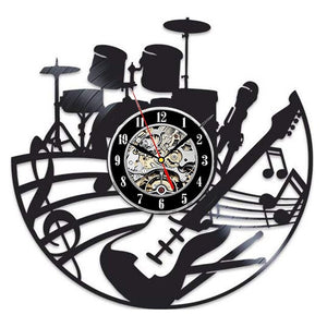Music Instrument Vinyl Record Wall Clock Modern Design for Living Room Vintage Vinyl Wall Clocks Home Decor Gifts for Musician