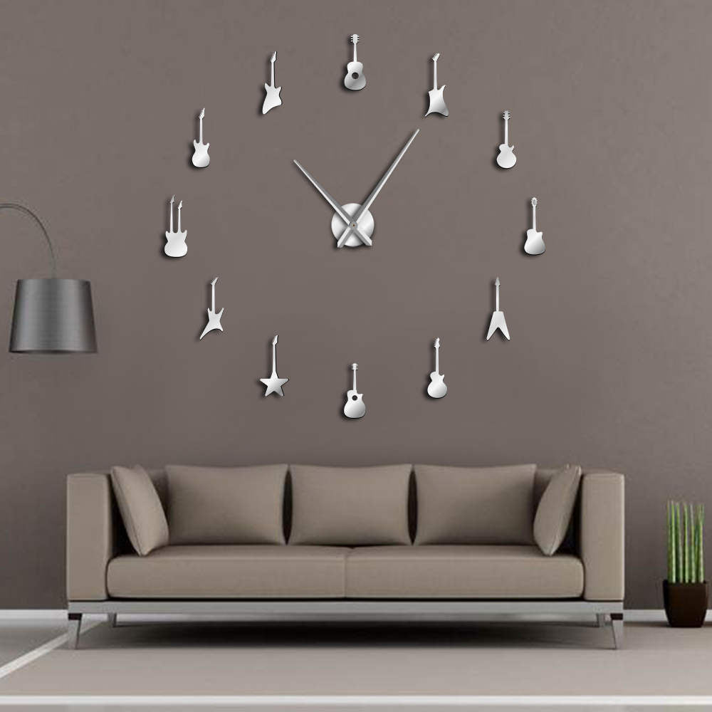 Guitar Variety Music DIY Giant Wall Clock Music Room Decor Frameless Big Needles Large Wall Clock Rock n Roll Guitar Wall Watch
