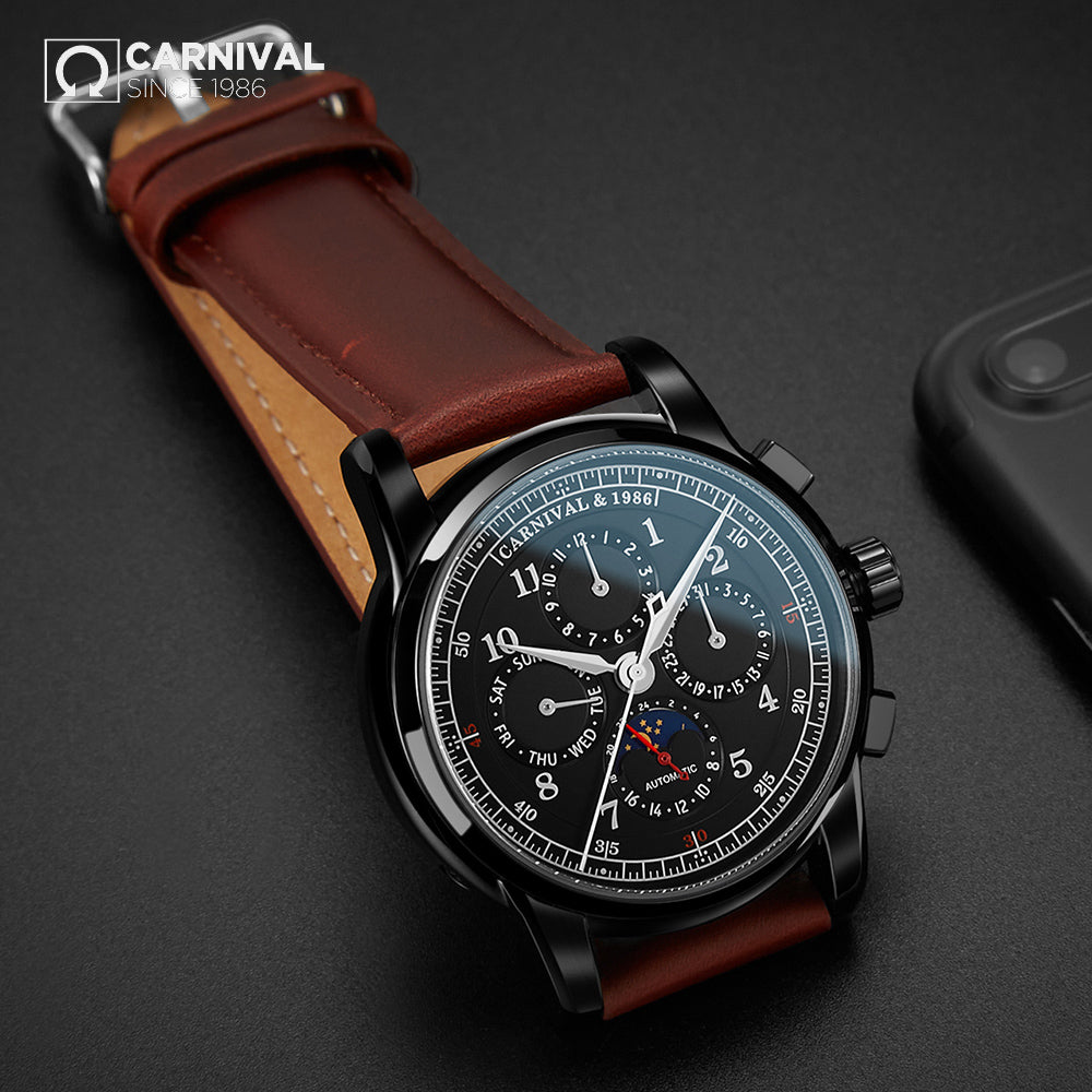 CARNIVAL Genuine Leather Pilot Automatic Watch Men luxury brand Diver Sport Wristwatch Mens Business Mechanical Watch