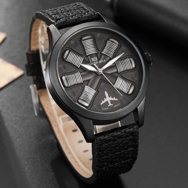 Creative Cool Aircraft Engine Shape Mens Watches Luxury Gold Black Dial Military Male Watch Pilot Wristwatch Relogio Masculino
