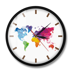 Unique Colorful World Map Wall Clock Silent Movement Modern Decorative Wall Watch Geometric Wall Art Housewarming Traveler Gift