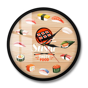 Japanese Cuisine Sushi Tasty Food Wall Clock Kitchen Wall Art Decorative Minimalist Wall Watch Gift for Foodies Restaurant Chef