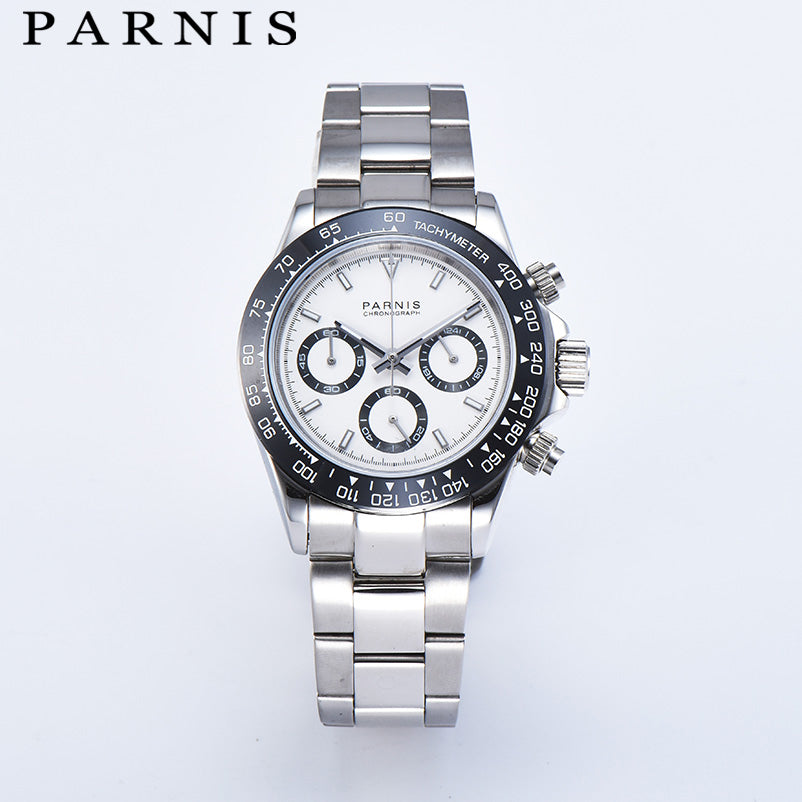 Parnis Quartz Chronograph Watch Men Top Brand Luxury Pilot Business Waterproof Sapphire Crystal Men's Watch Relogio Masculino
