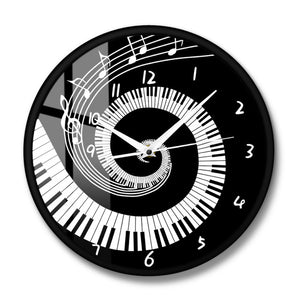 Elegant Piano Keys Black and White Modern Wall Clock Music Notes Wave Round Music Keyboard Wall Clock Music Lover Pianist Gift