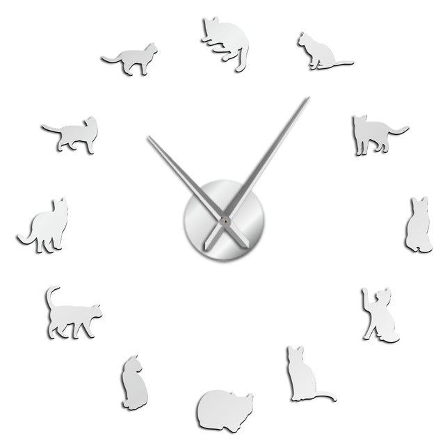 Silhouette Cats Wall Art Kittens DIY Giant Wall Clock Playful Cats Big Needle Kitty Girl Room Large Wall Watch Feline Fan Gift