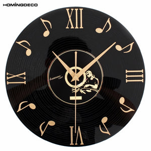 12 inch 30cm Creative Retro Wall Clock Music Notes Vinyl CD Album Hanging Clocks Black Living Room Home Bedroom Cafe Decor 2020