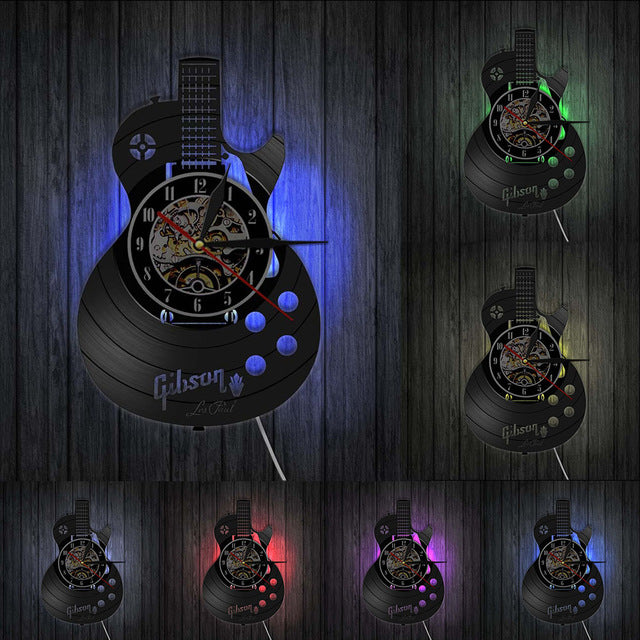 Acoustic Guitar Wall Art Wall Clock Musical Instrument Home Interior Wall Decor Vinyl Record Wall Clock Rock n Roll Musical Gift
