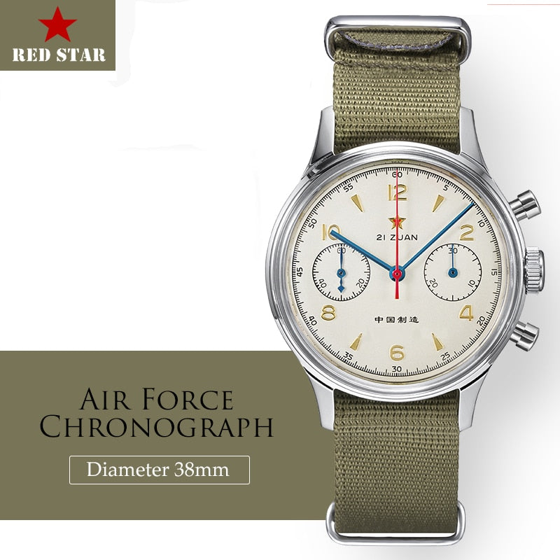 RED STAR 38mm Men's Chronograph Mechanical Watches Pilot Hand Wind ST19 movement Men Air Force Aviation 1963 Chronograph Clock