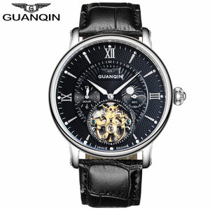 GUANQIN Mens Watches Top Brand Luxury Tourbillon Automatic Mechanical Watch Men Casual Fashion Leather Strap Skeleton Wristwatch