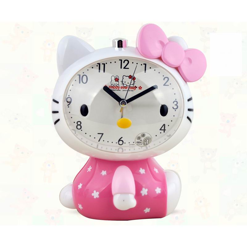 2016 Hello Kitty Children Mute Alarm Clock With Night Light Multiple Ring Tones Bedside Alarm Birthday Gift