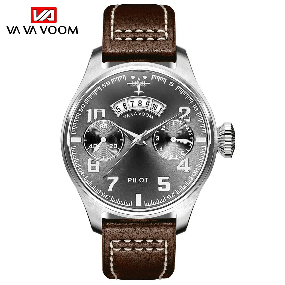 Men's Sports Military Watches Fashion Pilot Business Watch Man Leather Belt Quartz Waterproof Wrist Watch Relogio Masculino 2020