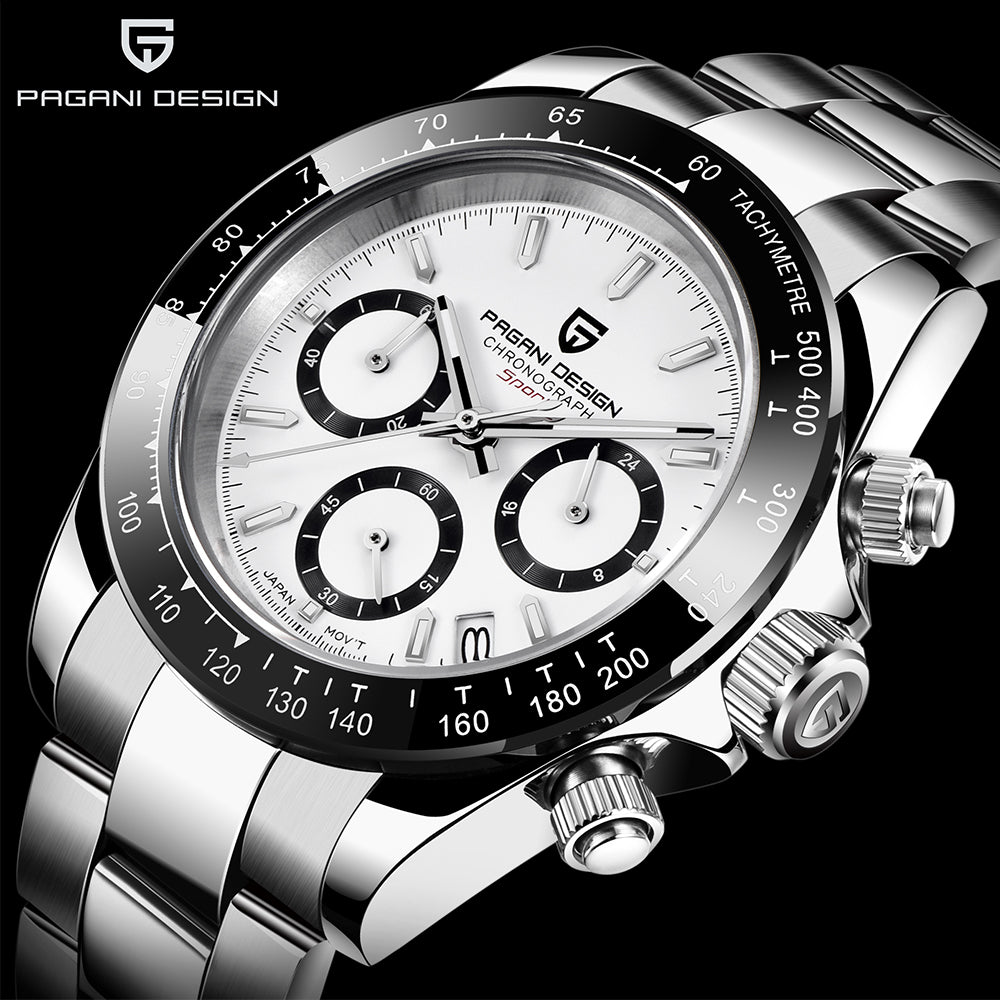 PAGANI DESIGN Fashion Luxury Chronograph Sports Watch Men Stainless Steel Waterproof Quartz Watches relogio masculino