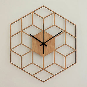 Bamboo Wood Modern Large Silent Office Home Decor Bedroom Gift Hexagonal Quartz Wall Clock Battery Operated Geometry