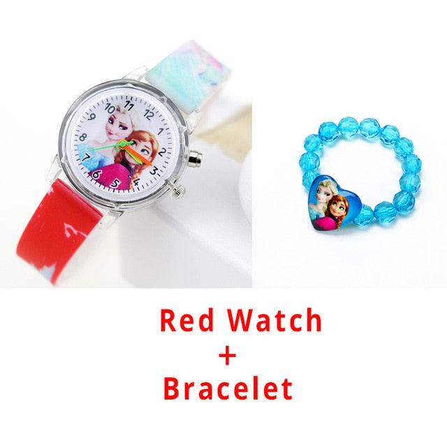 Princess Elsa Children Watches Spiderman Colorful Light Source Boys Watch Girls Kids Party Gift Clock Wrist Relogio Feminino