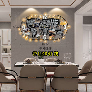 Nordic Large Wall Clock Modern Design Creative World Map Clock for Living Room 3D Quartz Home Decor