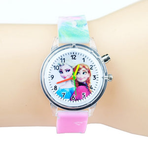 Princess Elsa Children Watches Kids Spiderman Colorful Light Source Boys Watch Girls Party Gift Clock Wrist Relogio Feminino