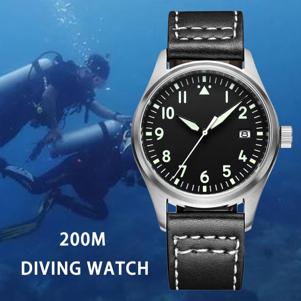 Japan NH35 Pilot Watch Fully Automatic Mechanical Diver Watch C3 Super Luminous Men's Watches Sapphire Crystal 200m Dive Watch