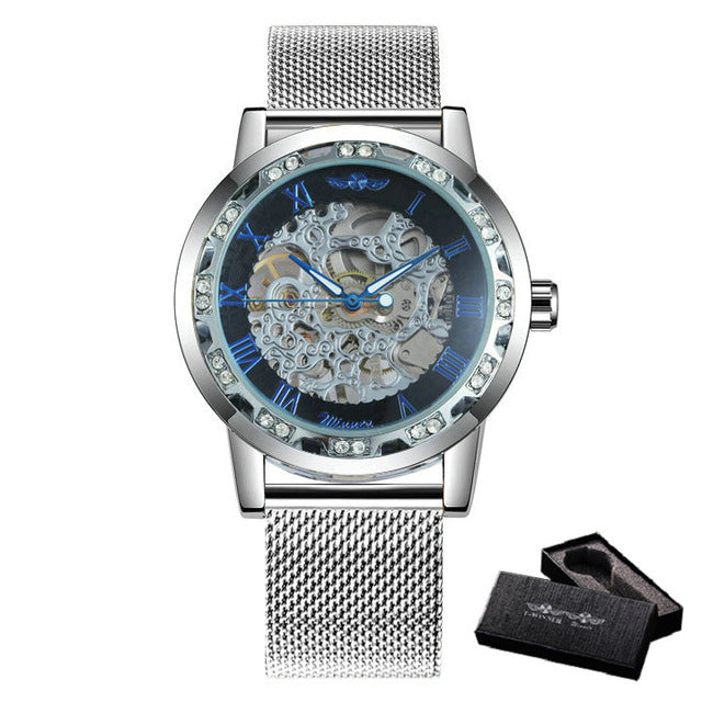 WINNER Fashion Business Mechanical Mens Watches Top Brand Luxury Skeleton Dial Crystal Iced Out Wristwatch Hot Sale Clock 2019