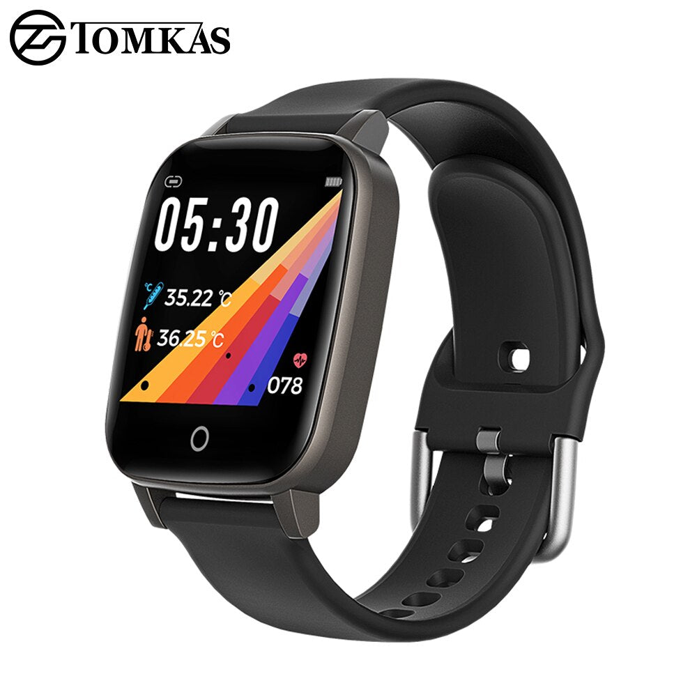 2020 Smartwatch Men/women Body Temperature Measurement Heart Rate Monitor IP67 Waterproof Silicone Strap Smart Watch Android IOS