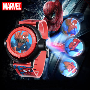Marvel Hero Spider-Men Boys Interest Watches Projector 10 Patterns Child Digital Clock Student Gift Easy Read Time Kid Watch New