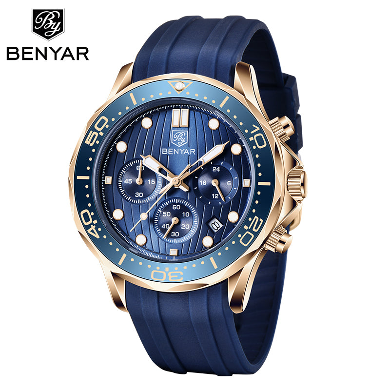 BENYAR Fashion Mens Watches Top Brand Luxury WristWatch Quartz  Blue Watch Men Waterproof Sport Chronograph Relogio Masculino
