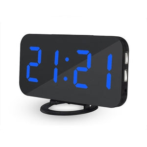 JULY'S SONG Mirror Alarm Clock Digital LED Clocks USB Phone Charging Electronic Watch Table Snooze Auto Adjustable Light Clocks